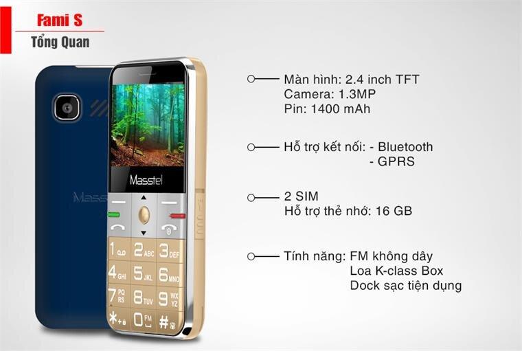 Điện thoại Masstel Fami S - Gold