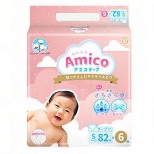 Bỉm – Tã dán Amico size S 82 + 6 miếng (Cho bé 4 – 8kg)