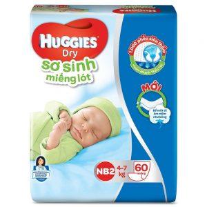 Miếng lót sơ sinh Huggies NB2 – 60 miếng (Cho bé 4 – 7kg)