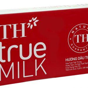 Thùng 48 hộp sữa tươi tiệt trùng hương dâu TH true MILK 110ml