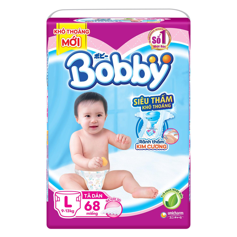 Bỉm - Tã dán Bobby size L 68 miếng (cho bé 9 - 13kg)